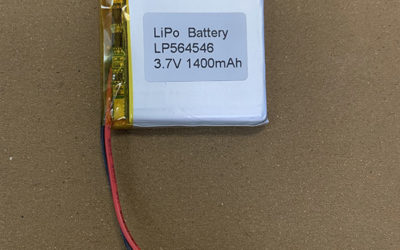 Rechargeable 3.7V LiPo battery LP564546 1400mAh with protection circuits
