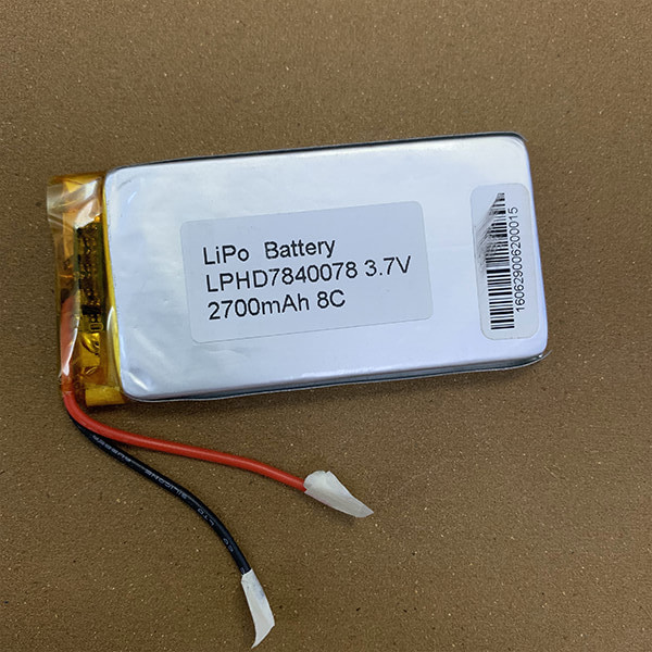 High Rate Rechargeable LiPo battery LPHD7840078 2700mAh 8C