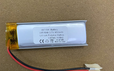 3.7V Custom LiPo battery LP651648 450mAh with protection circuits