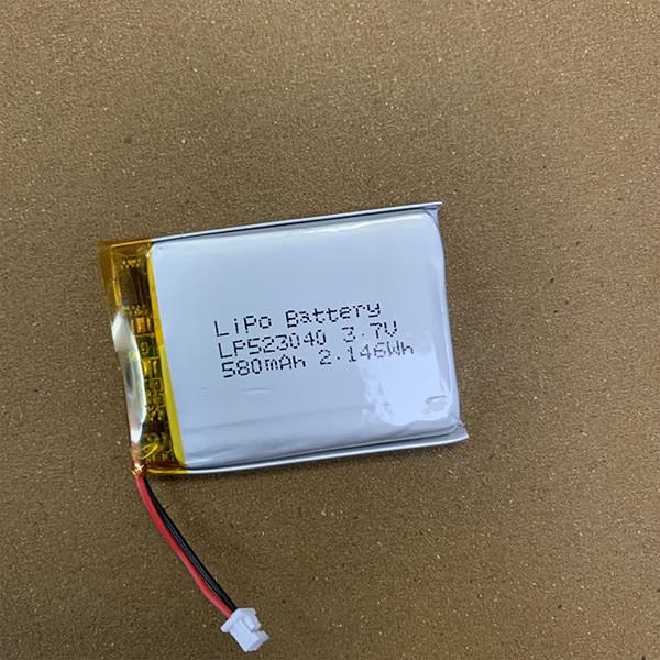 3.7V Standard LiPo battery LP523040 580mAh with Molex 51021-0200