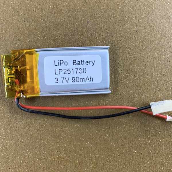 Thin LiPo Battery LP251730 90mAh with protection circuits