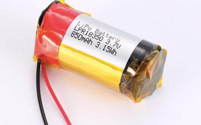 Rechargeable LiPo batteries LPR18350 3.7V 850mAh