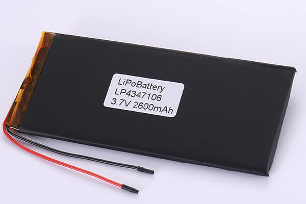 Rechargeable LiPo Batteries LP4347106 3.7V 2600mAh with 9.62Wh