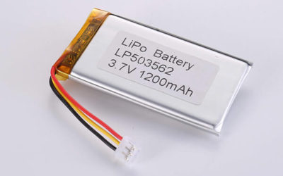 Rechargeable LiPo batteries LP503562 3.7V 1200mAh with 4.44W