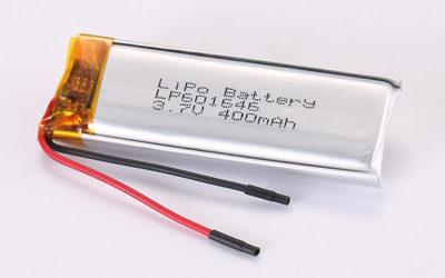 3.7V Rechargeable LiPo Batteries LP601646 400mAh 1.48Wh