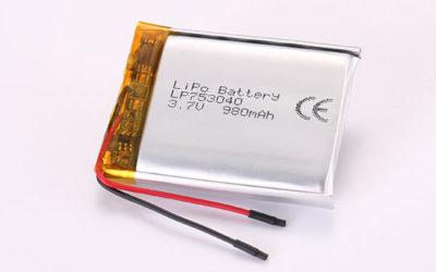 3.7V Rechargeable LiPo Batteries LP753040 980mAh 3.626Wh