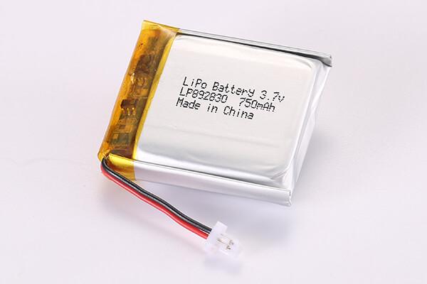 3.7V Standard Rechargeable LiPo Batteries With JST SHR-02V-S-B LP892830 750mAh 2.775Wh