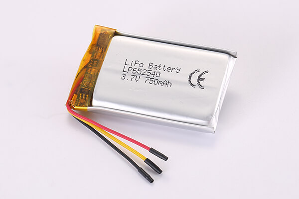 3.7V Standard Rechargeable LiPo Batteries With NTC LP652540 750mAh 2.775Wh